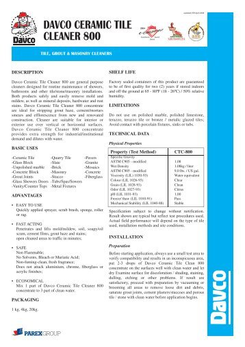 Davco Ceramic Tile Cleaner 800 - ParexDavco