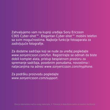 Zahvaljujemo vam na kupnji uređaja Sony Ericsson C905 Cyber ...