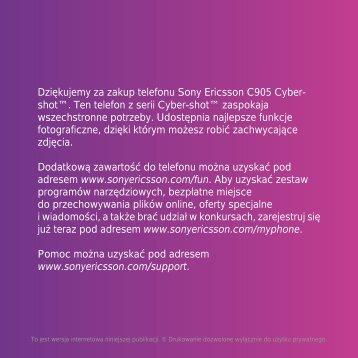 Dziękujemy za zakup telefonu Sony Ericsson C905 Cyber- shot ...