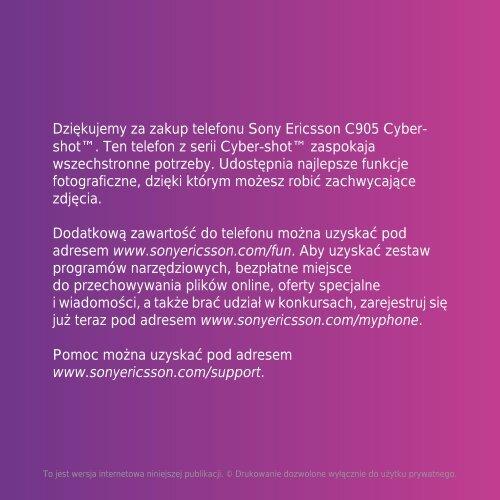 Dziękujemy Za Zakup Telefonu Sony Ericsson C905 Cyber Shot