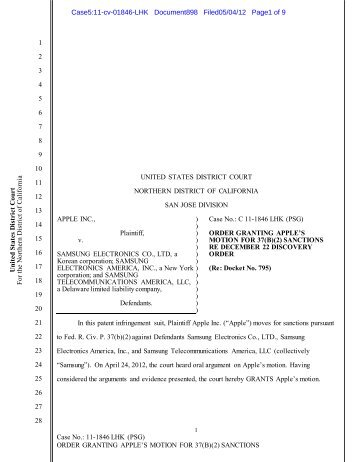 Order Granting Apple's Motion for Sanctions - United States District ...