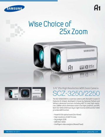 "1/4"" 25x High Resolution WDR Zoom Camera - Samsung"