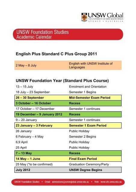 English Plus Standard C Plus Group 2011 Unsw Foundation Year