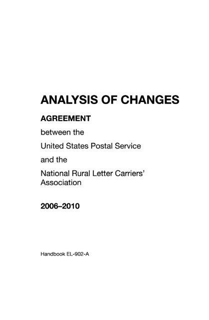 Handbook EL-902-A - Analysis of Changes - National Rural