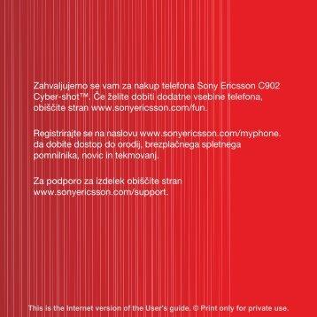 Zahvaljujemo se vam za nakup telefona Sony Ericsson C902 Cyber ...