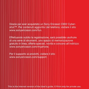 Grazie per aver acquistato un Sony Ericsson C902 Cyber ... - Enovo.ch