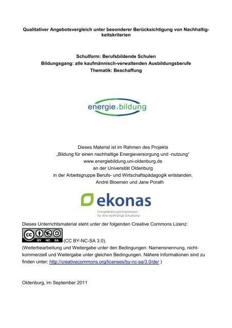 Qualitativer Angebotsvergleich Und Nachhaltigkeit Projekt