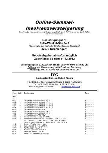 Online-Sammel- Insolvenzversteigerung - IVG mbH & Co. KG