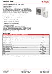 Datenblatt Split-Luft/Wasser-Wärmepumpe, mono: LIA 9IM - Dimplex