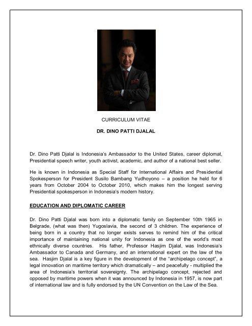 Curriculum Vitae Dr Dino Patti Djalal Dr Dino Patti Djalal