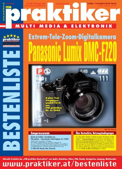 Panasonic Lumix DMC-FZ20: Extrem-Tele-Zoom-Digitalkamera ...