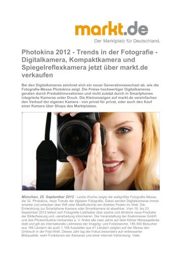 Photokina 2012 - Trends in der Fotografie - Digitalkamera ... - Markt.de