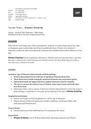 Teacher Notes – Dinosaur Dreaming - University of Queensland Press