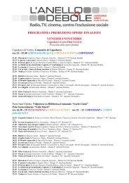 PROGRAMMA PROIEZIONI OPERE FINALISTE - Redattore Sociale