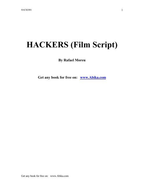 Hackers Film Script