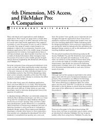 4th Dimension, MS Access, and FileMaker Pro