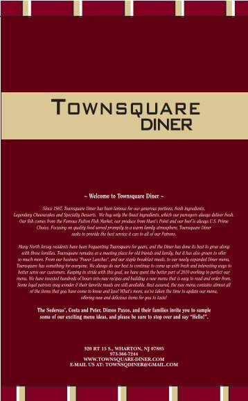 New Menu - Townsquare Restaurant Diner