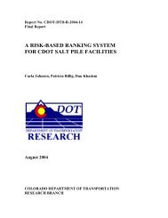 a risk-based ranking system for cdot salt pile facilities - Colorado ...