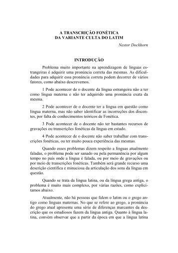 A TRANSCRIÇÃO FONÉTICA DA VARIANTE CULTA DO LATIM ...