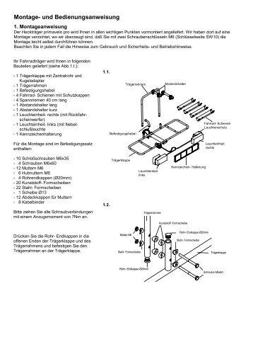 montage und bedienungsanleitung fahrradtr ger f r. Black Bedroom Furniture Sets. Home Design Ideas