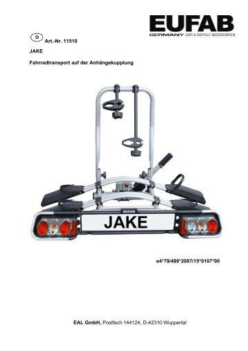 Art.-Nr. 11510 JAKE Fahrradtransport auf der Anhängekupplung ...