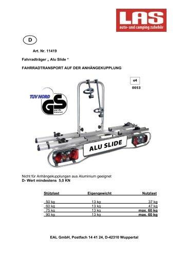"""Art. Nr. 11419 Fahrradträger """" Alu Slide """" FAHRRADTRANSPORT ..."""