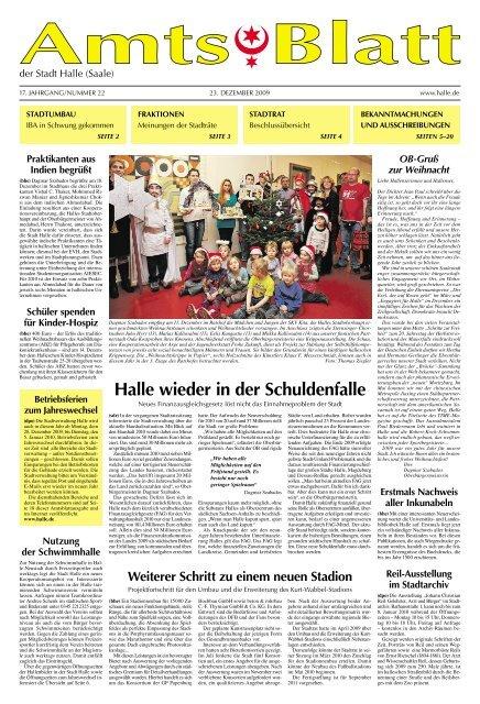 Amtsblatt Nr 22 Vom 23 12 2009 Stadt Halle Saale