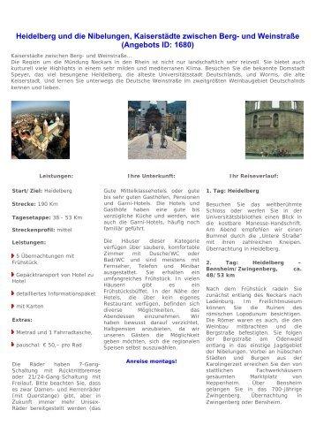 Heidelberg und die Nibelungen, Kaiserstädte ... - ebuchen.com