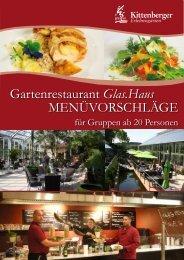 Gartenrestaurant Glas.Haus MENÜVORSCHLÄGE - Kittenberger