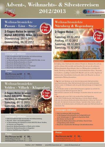Advent-, Weihnachts- & Silvesterreisen 2012/2013 - k&k Busreisen