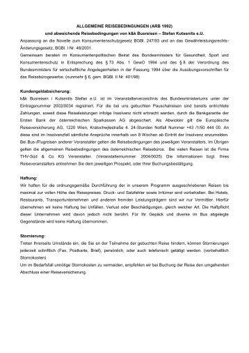 Reisebedingungen (PDF) - k&k Busreisen