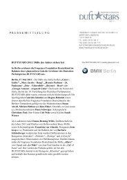 DUFTSTARS 2011: Düfte des Jahres stehen fest - VKE