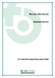 Comité Syndical du 20 Décembre 2006 - Syctom