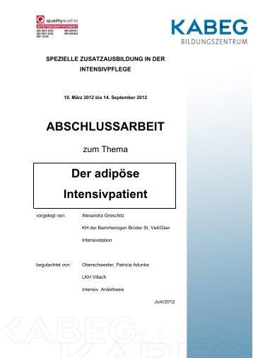 ABSCHLUSSARBEIT Der adipöse Intensivpatient - Kabeg