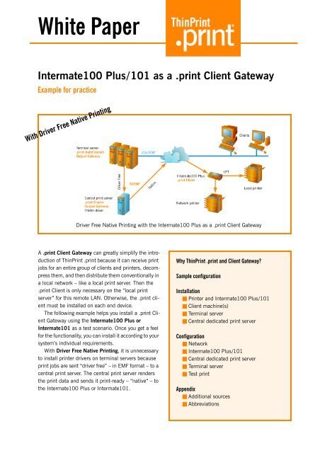 Intermate100 Plus/Intermate101 as a  print Client Gateway (e)