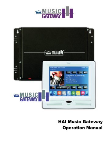 HAI Music Gateway Manual - Home Automation, Inc
