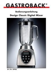 Bedienungsanleitung Design Classic Digital Mixer GASTROBACK