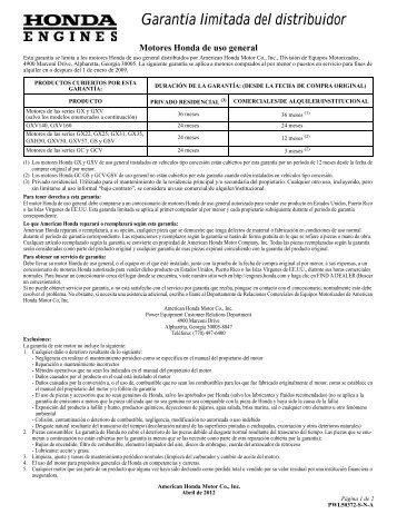 Garantía limitada del distribuidor - Honda Engines