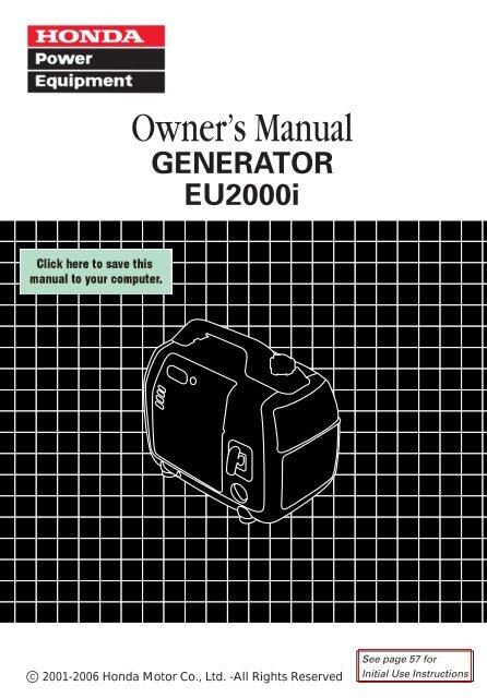 Honda Owners Manual >> Owner S Manual Honda Power Equipment