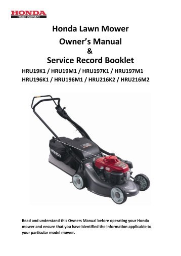 Honda Lawn Mower Owner's Manual Service Record Booklet