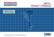 BF5A Owner's Manual - Honda Marine