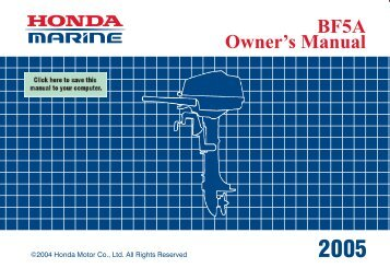 BF5A Owner's Manual - Honda Marine