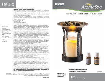 Instruction Manual and Warranty Information - HoMedics, Inc.