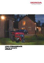 HONDA STRØMAGGREGATER Priser fra 15.02.2012 - Berema AS
