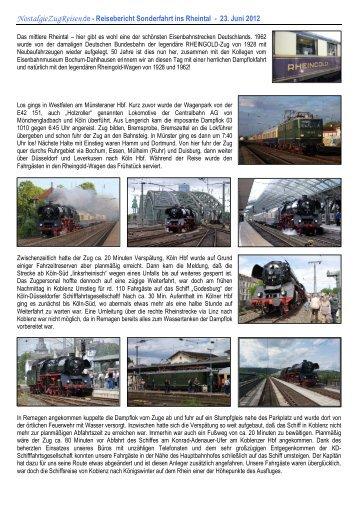 Reisebericht Sonderfahrt ins Rheintal - 23. Juni 2012