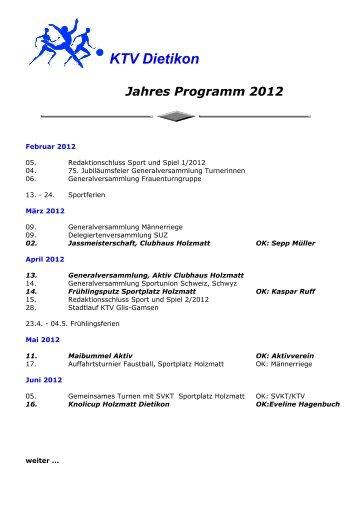 KTV Dietikon Jahres Programm 2012