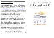 FREITAGSBRIEF 11. November 2011 - Rudolf-Steiner-Schule ...