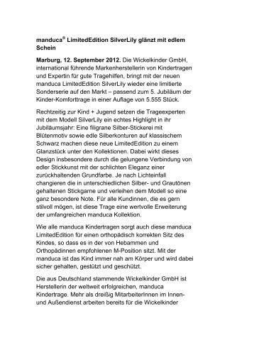 manduca® LimitedEdition SilverLily glänzt mit edlem ... - Press1.de
