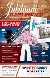 Start: 25.10.2012 Punkt 9:00 uhr - Intersport Sport Peter
