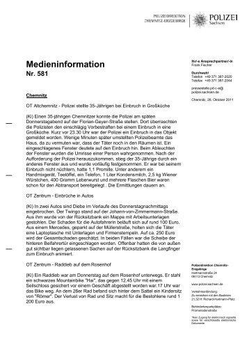 Medieninformation Nr. 581 - Polizei Sachsen